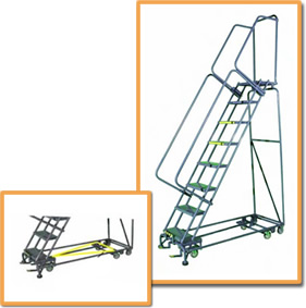 Two photos showing an all-directional ladder and a closeup of the mechanism.