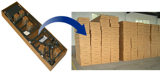 Photo of ladder situated in shipping box and a stack of boxed ladders ready for shipment.