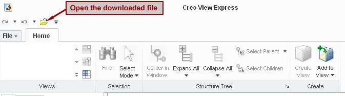 Screenshot of creo view software pointing to the open file icon requesting you open the downloaded file.