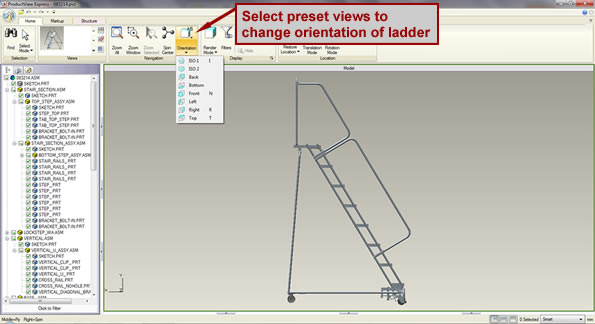 Screenshot pointing out the orientation icon in the software through which you can manipulate the ladder drawing.