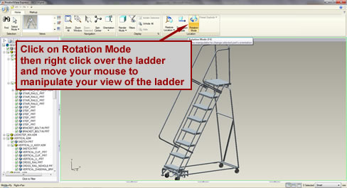 Screenshot pointint out the rotation icon that allows you to rotate the ladder drawing.