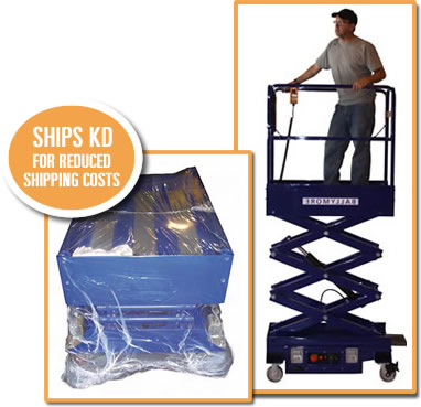 Photo of wrapped mini-scissor lift for shipping and worker on raised lift