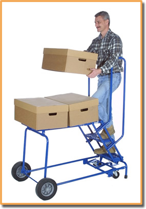 Photo of man lifting a box while on the record center cart.
